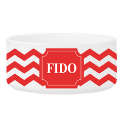 Personalized Large Dog Bowl - Cheerful Chevron - Red