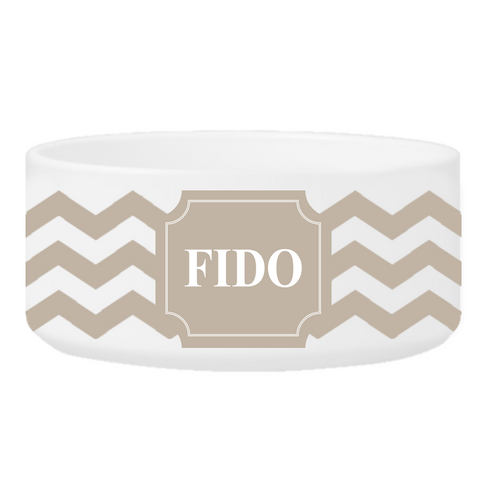 Personalized Large Dog Bowl - Cheerful Chevron - Clay
