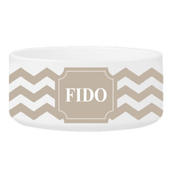 Personalized Small Dog Bowl - Cheerful Chevron - Clay