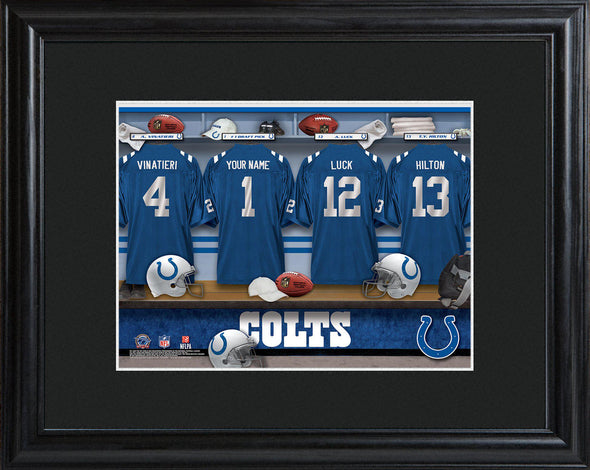 Personalized NFL Locker Sign w/Matted Frame - All Teams - Colts - JDS