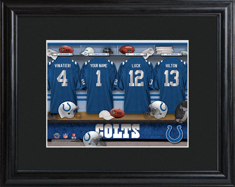 Personalized NFL Locker Sign w/Matted Frame - All Teams - Colts - Professional Sports Gifts - AGiftPersonalized