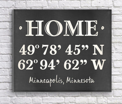 Personalized Home Coordinates Canvas Print - Chalkboard - JDS