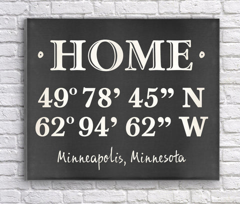 Personalized Home Coordinates Canvas Print - Chalkboard
