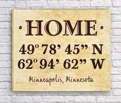 Personalized Home Coordinates Canvas Print - Parchment