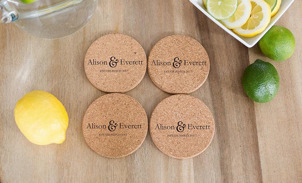Personalized Thick Cork Coasters – Modern Collection -  - Qualtry