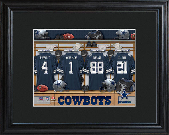 Personalized NFL Locker Sign w/Matted Frame - All Teams - Cowboys - JDS