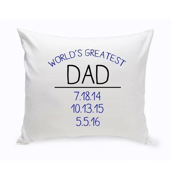 Personalized World's Greatest Dad Throw Pillow -  - JDS