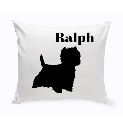 Monogrammed Dog Throw Pillow -  Classic Silhouette - WestHighlandTerrier - Pet Gifts - AGiftPersonalized