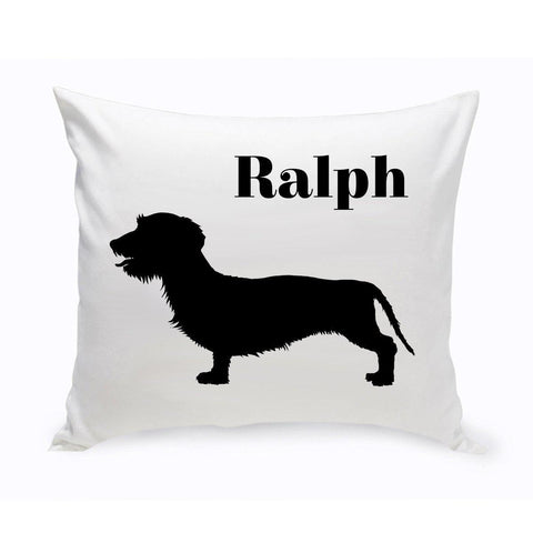 Monogrammed Dog Throw Pillow -  Classic Silhouette - Wire-HairedDachsund - Pet Gifts - AGiftPersonalized