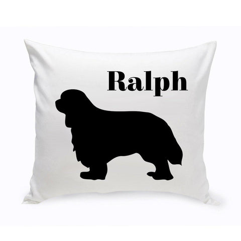 Monogrammed Dog Throw Pillow -  Classic Silhouette - CavalierKingCharlesSpaniel - Pet Gifts - AGiftPersonalized