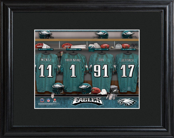 Personalized NFL Locker Sign w/Matted Frame - All Teams - Eagles - JDS