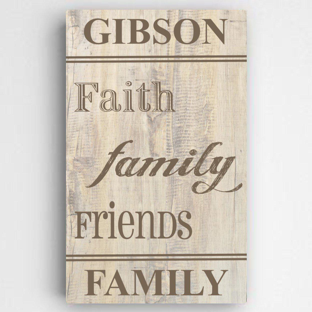 Personalized Family and Faith Canvas Sign