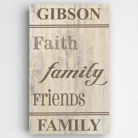 Personalized Family and Faith Canvas Sign -  - Canvas Prints - AGiftPersonalized