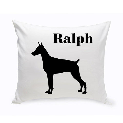 Monogrammed Dog Throw Pillow -  Classic Silhouette - DobermanPinscher - Pet Gifts - AGiftPersonalized