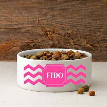 Personalized Small Dog Bowl - Cheerful Chevron - Pink
