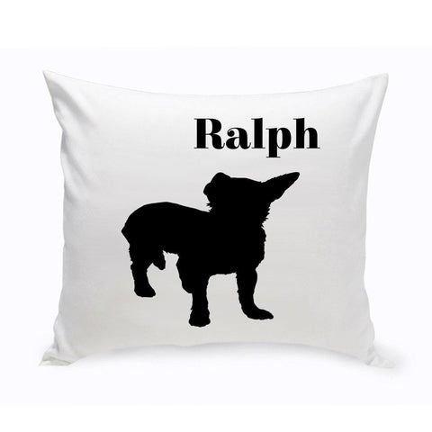 Monogrammed Dog Throw Pillow -  Classic Silhouette - ShorthairChihuahua - Pet Gifts - AGiftPersonalized
