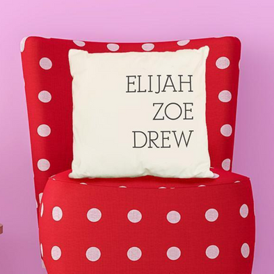 Personalized Family Names Throw Pillow Cover - Serif -  - Qualtry