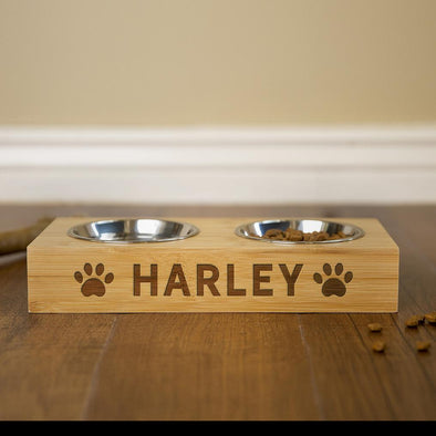 Personalized Dog and Cat Feeding Stands with Bowls -  - Qualtry