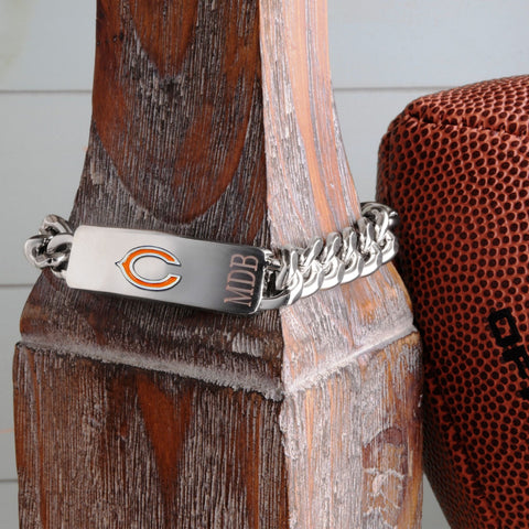 Personalized Bracelets - NFL - Silver - Team Logo - ChicagoBears - Professional Sports Gifts - AGiftPersonalized