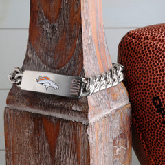 Personalized Bracelets - NFL - Silver - Team Logo - DenverBroncos - Professional Sports Gifts - AGiftPersonalized
