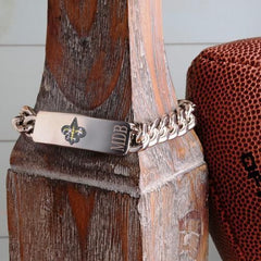 Personalized Bracelets - NFL - Silver - Team Logo - NewOrleansSaints - Professional Sports Gifts - AGiftPersonalized