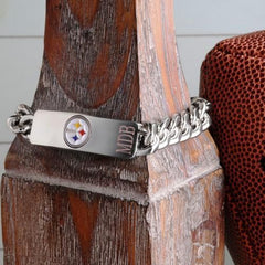 Personalized Bracelets - NFL - Silver - Team Logo - PittsburghSteelers - Professional Sports Gifts - AGiftPersonalized