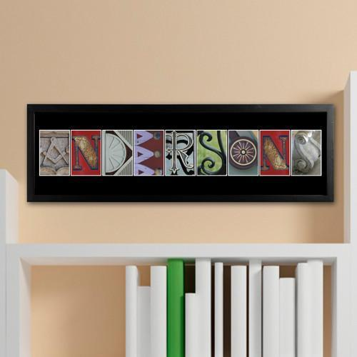 Personalized Architectural Urban Alphabet Name Sign - Full Color - Black - JDS