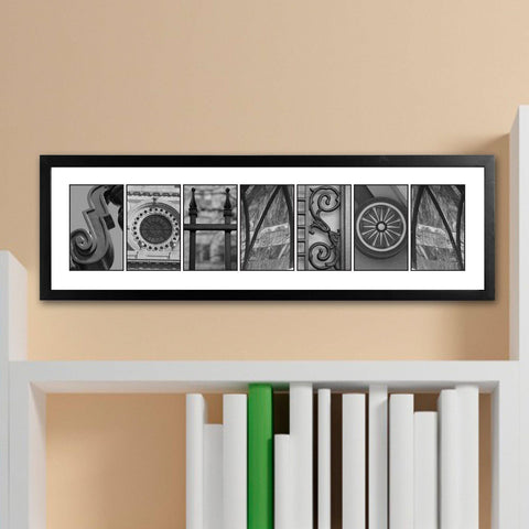 Personalized Family Name Sings - Architectural Elements Alphabet - Black and White - White