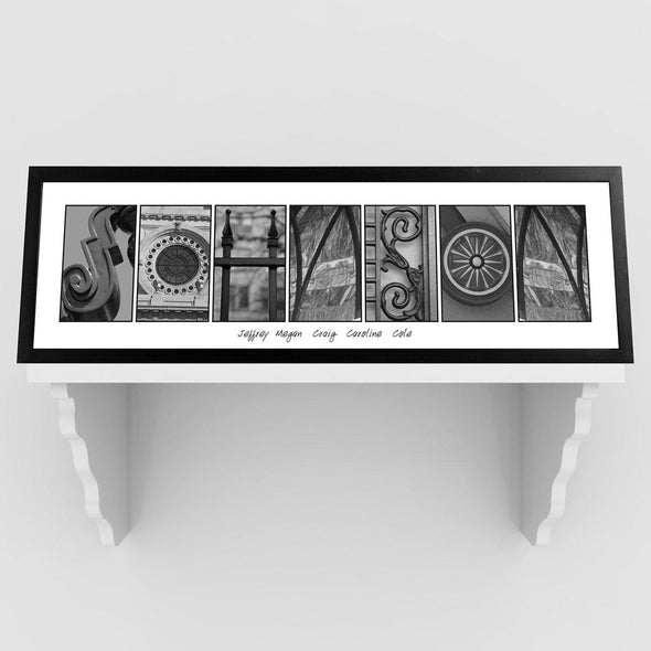Personalized Family Name Signs - Architectural Alphabet - Black and White - Urban - White - JDS