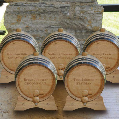 Personalized White Oak Whiskey or Bourbon Barrel - Set of 5 - 2Lines - Personalized Barware - AGiftPersonalized