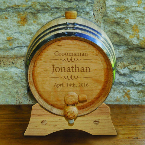 Groomsmen Oak Whiskey Barrel - 2 Liter Barrel - Bourbon Barrel - Modern - Personalized Barware - AGiftPersonalized