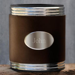 Personalized Brown Leather Can Cooler at AGiftPersonalized