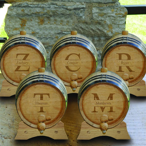 Personalized White Oak Whiskey or Bourbon Barrel - Set of 5 - Stamped - Personalized Barware - AGiftPersonalized