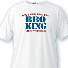 Personalized BBQ King Guys White T-Shirts -  - T-Shirts - AGiftPersonalized
