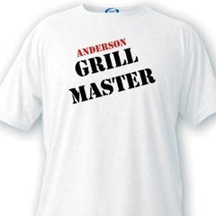 Personalized T Shirts - Grill Master - Men's - White - Father's Day Gifts -  - T-Shirts - AGiftPersonalized