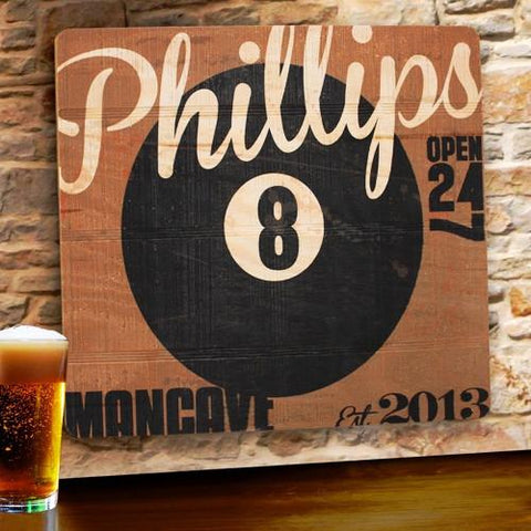 Personalized Wood Tavern and Bar Sign - 8-Ball -  - Man Cave Gifts - AGiftPersonalized