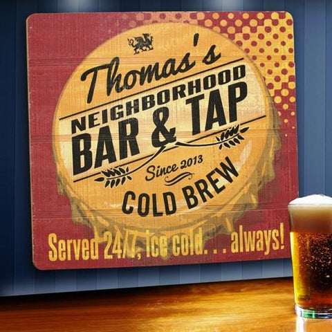 Personalized Wood Tavern and Bar Sign - Served 24/7 -