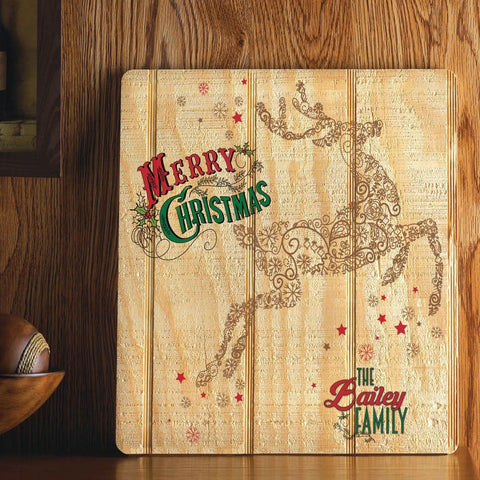 Personalized Wood Art Sign - Vintage Reindeer -  - Home Decor - AGiftPersonalized
