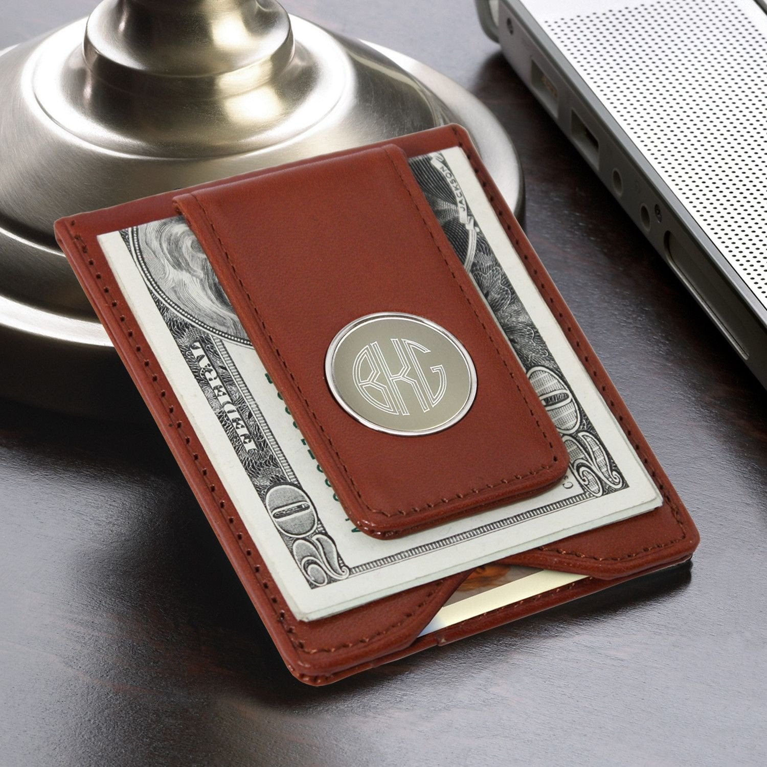 Personalized Monogram Brown Leather Wallet & Money Clip