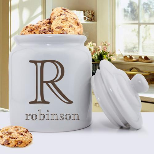 Personalized Ceramic Cookie Jar - Family Initial