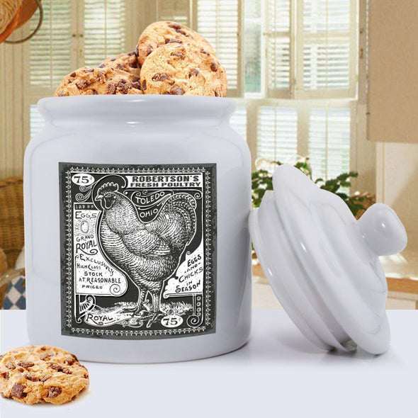 Personalized Ceramic Vintage Rooster Cookie Jar -  - JDS