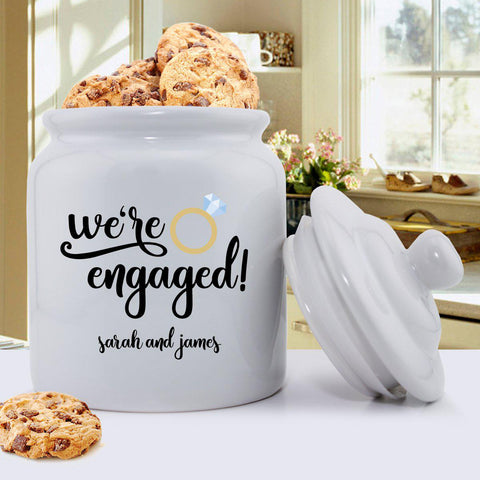 Personalized Cookie Jar- We're Engaged -  - Home Decor - AGiftPersonalized