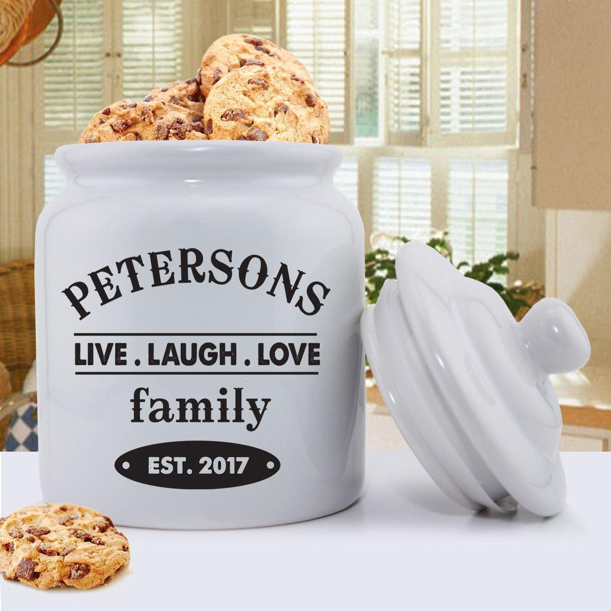 personalized cookie jars ceramic live laugh love gifts for mom