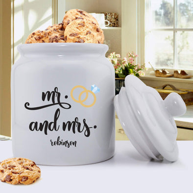 Personalized Mr. & Mrs. Wedding Ring Cookie Jar -  - JDS