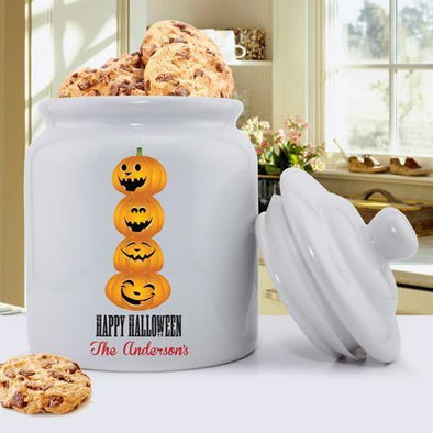 Personalized Halloween Cookie Jar - Pumpkins - JDS