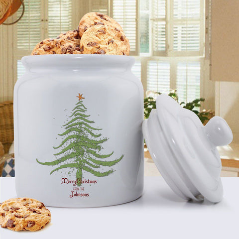 Personalized Holiday Cookie Jars - Christmas Tree -  - Keepsake Gifts - AGiftPersonalized