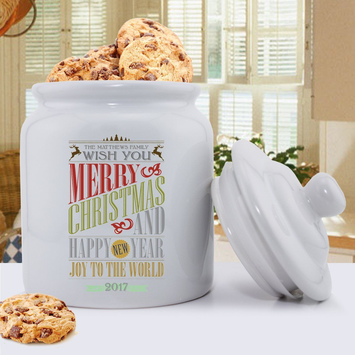 Personalized Holiday Cookie Jars - Christmas Words