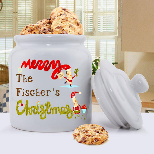Personalized Holiday Cookie Jars - MerryChristmas - JDS