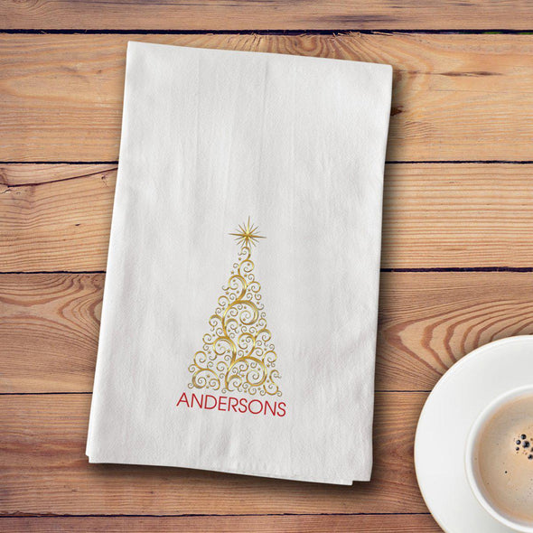 Personalized Christmas Tea Towels - 12 designs - Gold Tree - JDS