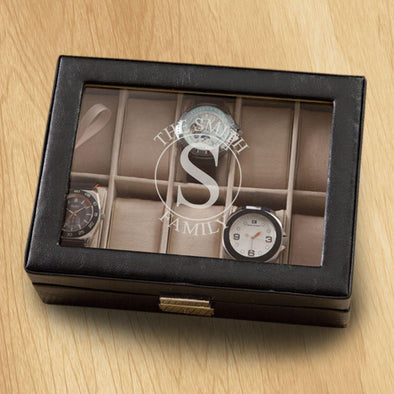 Monogrammed Watch Box - Black Leather - Holds 10 Watches - Circle - JDS